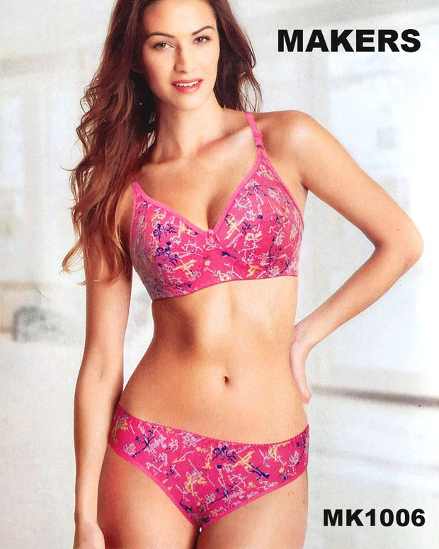 Bra Panty Sets by Makers - Soft Cotton Printed - Non Padded Bra Panty Sets - MK1006 - Bra Panty Sets - diKHAWA Online Shopping in Pakistan