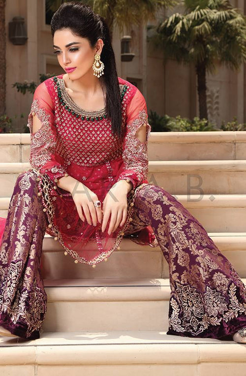 Maria B Chiffon Embroidered Suit