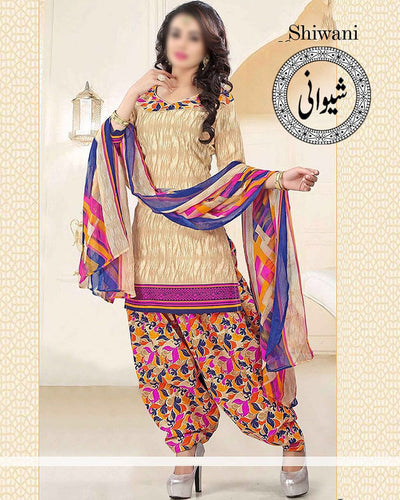 Maria B Full Embroidered Suit With Embroidered Chiffon Dupatta (Replica)(Unstitched)