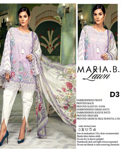 Maria B Lawn with Silk Dupatta (Replica)(Unstitched)