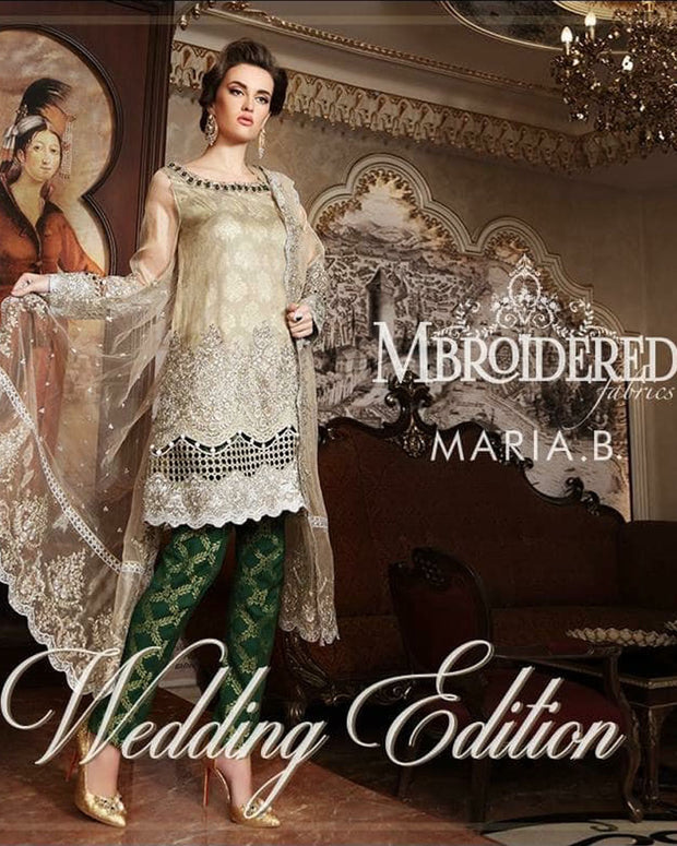 Maria B Net Suit With Net Dupatta (Replica)(Unstitched)