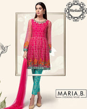 Maria B Chiffon Collection With Embroidered Front Body Yok Dupata (Replica)(Unstitched)