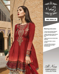 Maria B Lawn Collection With Net Embroidered Dupatta By Al Nisa - 3 Piece Lawn Suits - D04-A (Replica)(Unstitched)