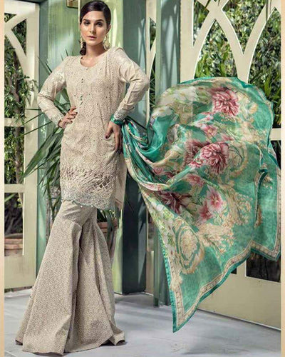 Maria B Lawn With Brochia Dupatta (Replica)(Unstitched)