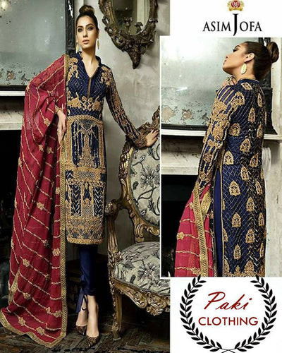 Asim Jofa Chiffon Collection With Gotawork Embroidered Heavy Dupatta (Replica)(Unstitched)