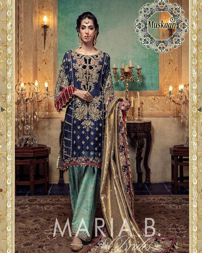 Maria B Darya-e-Noor Bridal Chiffon Collection With Heavy Embroidered Sequence Applique Mysori Dupatta (Replica)(Unstitched)