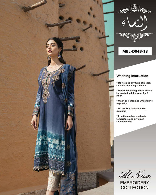 Maria B Lawn Collection With Net Embroidered Dupatta By Al Nisa - 3 Piece Lawn Suits - D04-B (Replica)(Unstitched)