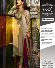 Maria B Silk Collection With Silk Digital Printed Dupatta (Replica)(Unstitched)