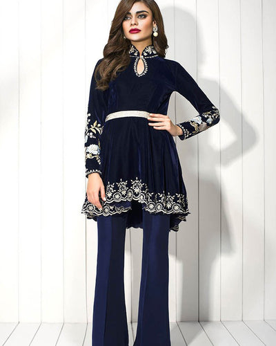 Sania Maskatiya Velvet Embroidered Zardoze Worked Peplum (Replica)(Unstitched)