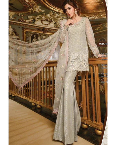 Maria B Wedding Collection With Heavy Sequence Net 4 Sided Embroidered Dupatta (Replica)(Unstitched)