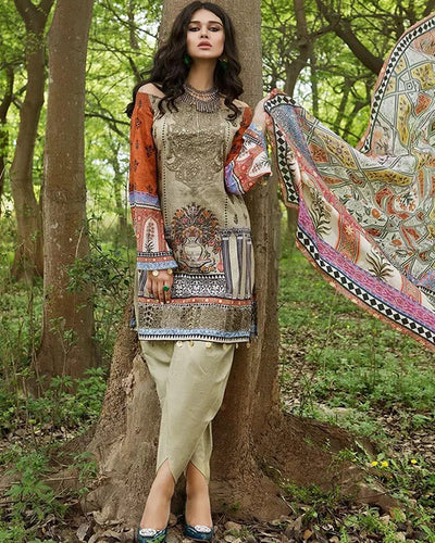 Maria B Pure Lawn Collection With Fantastic Printed Chiffon Dupatta (Replica)(Unstitched)