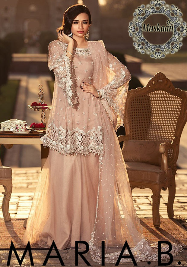 Maria B Chiffon Collection With Embroidered Seq CUTWORK Net Dupatta - BD-1306 (Replica)(Unstitched)