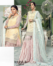 Maria B Lawn Collection With Embroidered Heavy Net Dupatta With 4 sided Border (Replica)(Unstitched)