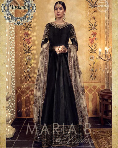 Maria.B Darya-e-Noor Bridal Collection Silk Black (Replica)(Unstitched)