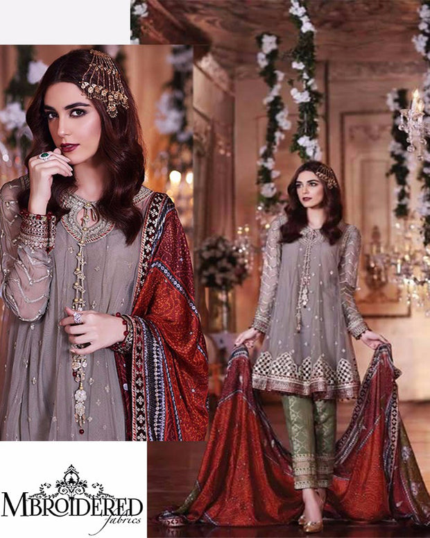 Maria B Chiffon Eid Collection D-02 (Replica)(Unstitched)