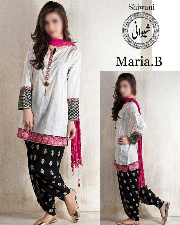 Maria B Lawn With Chiffon Embroidered Dupatta (Replica)(Unstitched)