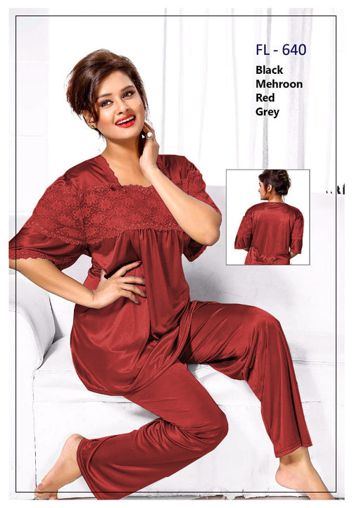 2 Pcs FL-640 - Maroon Flourish Exclusive Bridal Nighty Set Collection