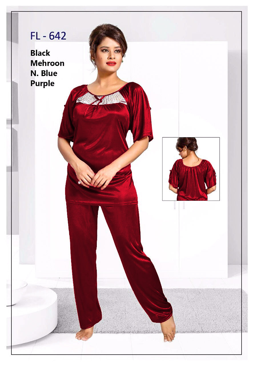 2 Pcs FL-642 - Maroon Flourish Exclusive Bridal Nighty Set Collection