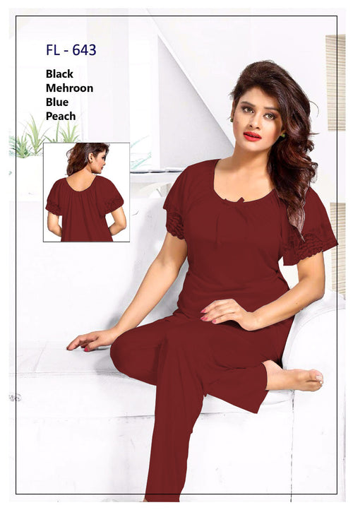 2 Pcs FL-643 - Maroon Flourish Exclusive Bridal Nighty Set Collection