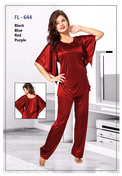 2 Pcs FL-644 - Maroon Flourish Exclusive Bridal Nighty Set Collection