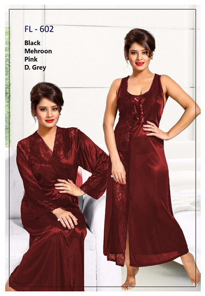2 Pcs FL-602 - Maroon Flourish Exclusive Bridal Nighty Set Collection