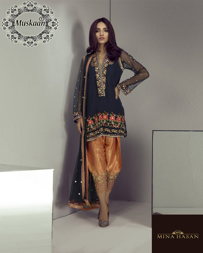 Mina Hasan Bridal Chiffon Collection With Embroidered Sequence Net Dupatta (Replica)(Unstitched)