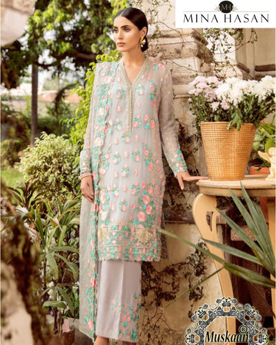Mina Hasan Chiffon Collection Gul Bahar (Replica)(Unstitched)