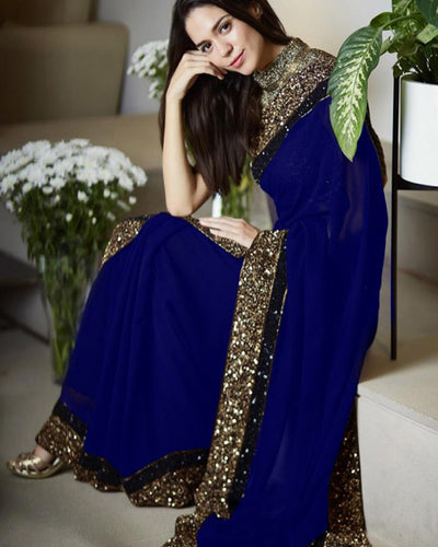 Myntra Embroidered Chiffon Saree - Blue (Replica)(Unstitched)