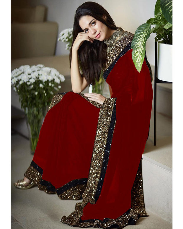 Myntra Embroidered Chiffon Saree (Replica)(Unstitched)