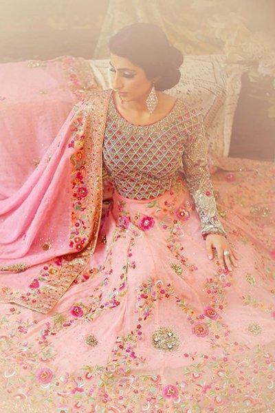 Bridal Chiffon Embroidered Suit