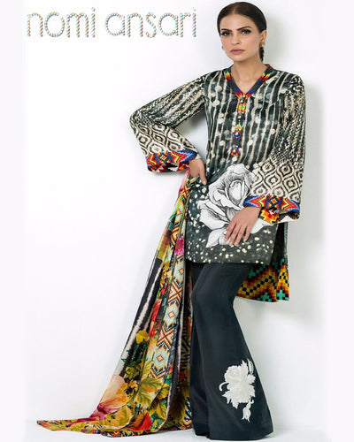 Nomi Ansari Silk-TWILIGHT With Printed Silk Dupatta (Replica)(Unstitched)