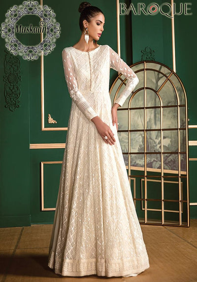 Baroque Whites Chiffon Collection - Replica - Unstitched