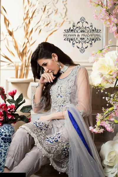 Rehan & Muzammil Net Sequence Work Embroidery Collection (Replica)(Unstitched)