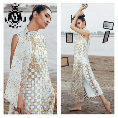 ERUM KHAN NET SUIT - Replica - Unstitched