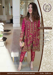 Mina Hasan Chiffon Bridal Embroidery Suit - Replica - Unstitched
