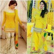 Neelam Muneer Yellow Chiffon Dress - Replica - Unstitched