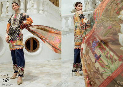 Firdous Cotton Lawn Suit - Replica - Unstitched