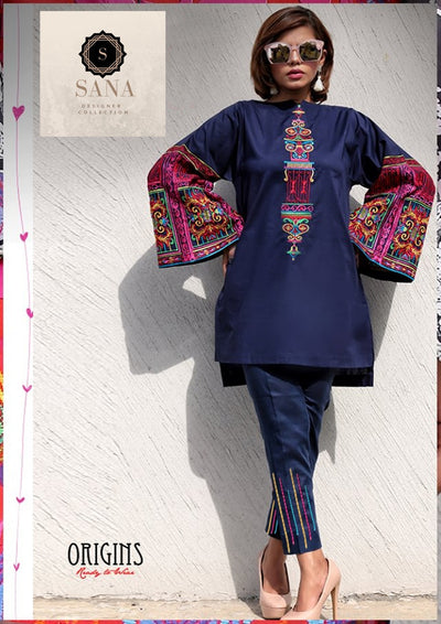 Sana Abbas Cotton Suit - Replica - Unstitched