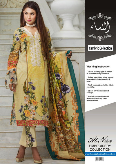 Firdous Cambric Cotton Suit - Replica - Unstitched