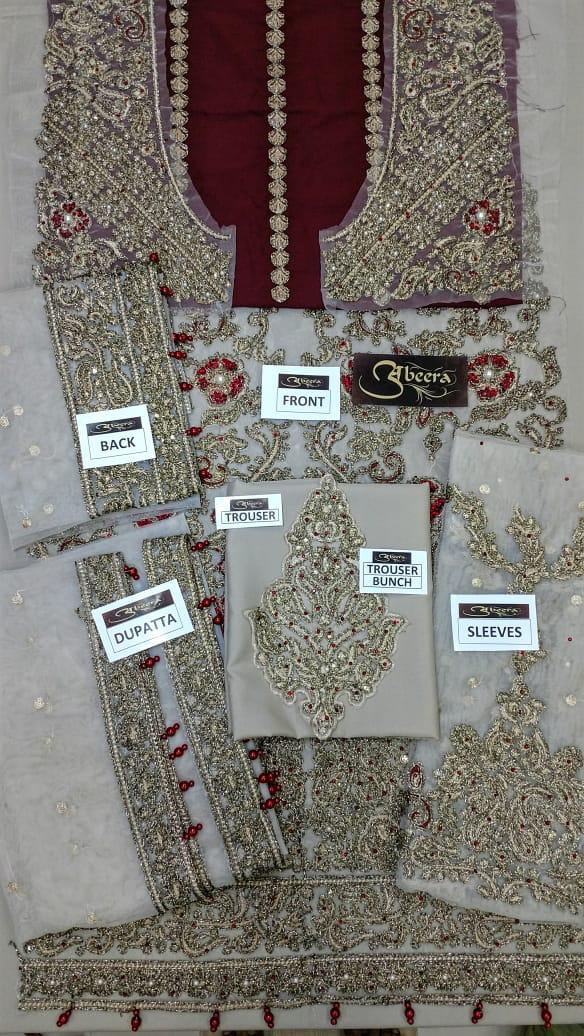Aliza Waqar Net Dresses - Embroidered Net Dupatta - Replica