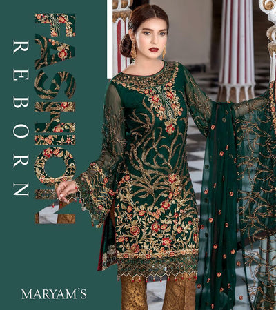 Maryam's Chiffon Dresses - Embroidered Chiffon Dupatta - Replica - Unstitched