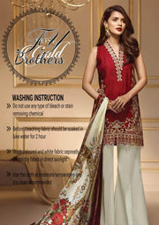 Anaya Linen Dresses - Embroidered Chiffon Dupatta - Replica - Unstitched