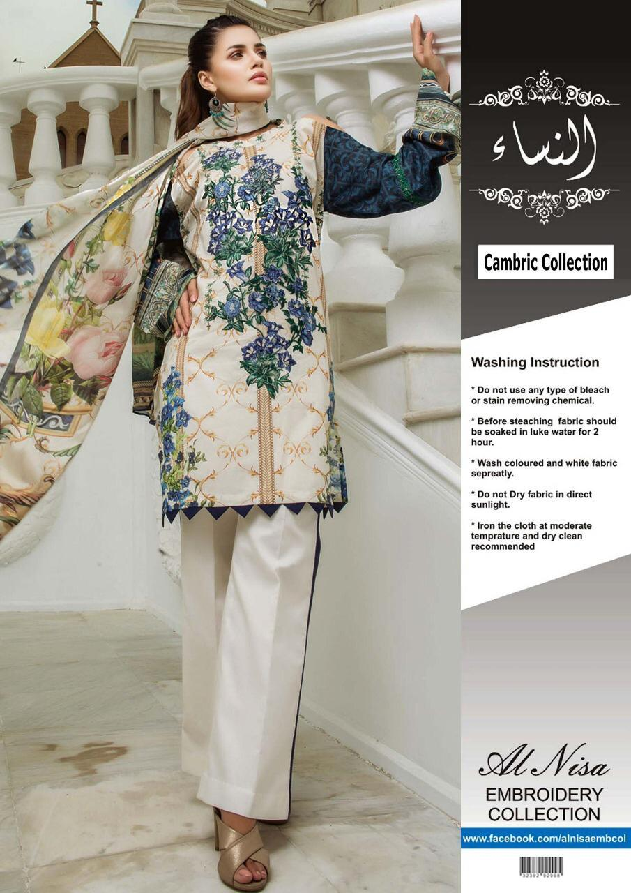 really comfortable marketable factory authentic Firdous Cotton Dresses - Embroidered Chiffon Dupatta - Replica - Unstitched