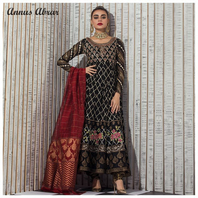 Annus Abrar Chiffon Dresses - Embroidered Chiffon Dupatta - Replica - Unstitched