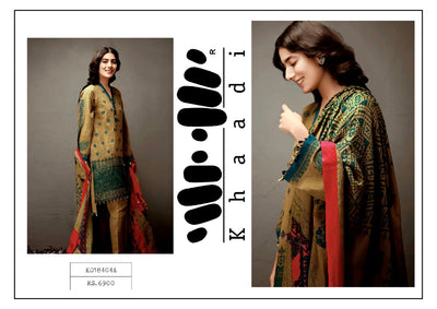 Khaadi Khaddar Dresses - Embroidered Wool Shawl Dupatta - Replica - Unstitched