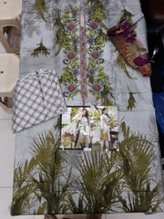 Panjwani Collection Lawn Cotton Dresses - Embroidered Lawn Cotton Dupatta - Replica - Unstitched