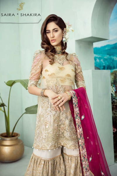 Saira Shakira Net Dresses - Embroidered Net Dupatta - Replica - Unstitched
