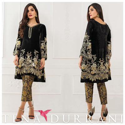 Tena Durani Velvet Dresses - Embroidered Net Dupatta - Replica - Unstitched