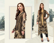 Maria B Net & Satin Silk Dresses - Embroidered Net Dupatta - Replica - Unstitched
