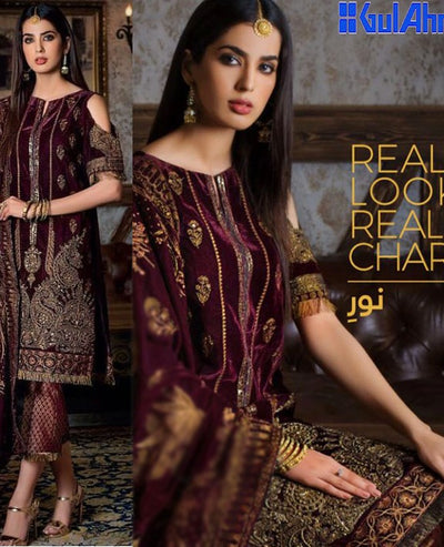 Gul Ahmed Velvet Dresses - Replica - Unstitched